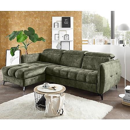 Eckcouch Tampa Moosgrün 260x176 cm Recamiere variabel inkl. Schlaffunktion Bettkasten - Bild 1
