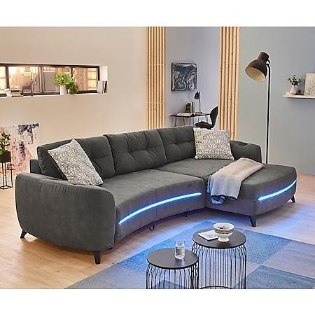 Couch Leano Dunkelgrau 345x190 cm Recamiere variabel Schlaffunktion - Bild 1