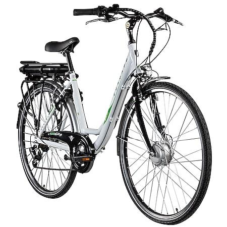Zündapp Z503 700c E-Bike Damenrad Pedelec 28 Zoll E Cityrad Stadtrad Elektrofahrrad... weiß/grün, 49 cm - Bild 1