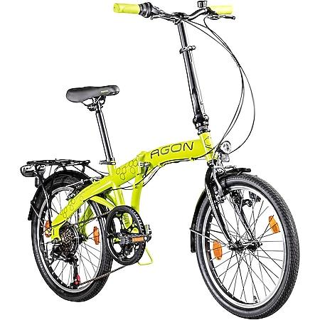 """Agon Parklane 20 Zoll Klapprad Fahrrad Faltrad Klappfahrrad 20"""" StVZO 6 Gänge Urban Bike... grün, 33 cm - Bild 1"""