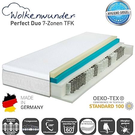 Wolkenwunder Perfect DUO TFK Taschenfederkernmatratze inkl. integriertem Topper... H2, 120x200 cm - Bild 1