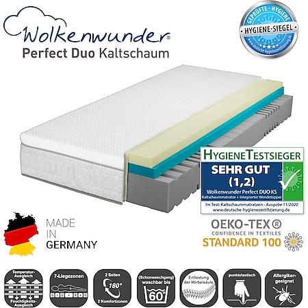 Wolkenwunder Perfect DUO KS Kaltschaummatratze inkl. integriertem Topper... H2 | H3 Partnermatratze, 160x200 cm - Bild 1