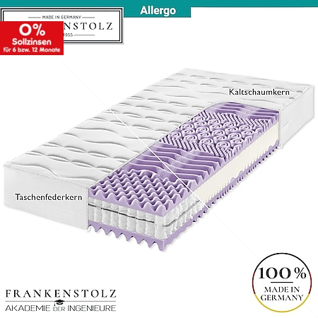 Frankenstolz Allergo Matratze perfekt für Allergiker - Kaltschaum oder Taschenfederkern... H4, 160x200 cm, Taschenfedern - Bild 1