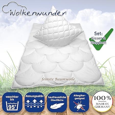 Sparset Wolkenwunder Soft Cotton Steppbett Bettdecke mit Kissen... 155 x 220 cm, 40 x 80 cm - Bild 1