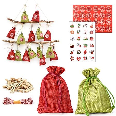 DIY Adventskalender zum Befüllen - 24 Geschenk Säckchen - Komplettes Bastelset - Bild 1