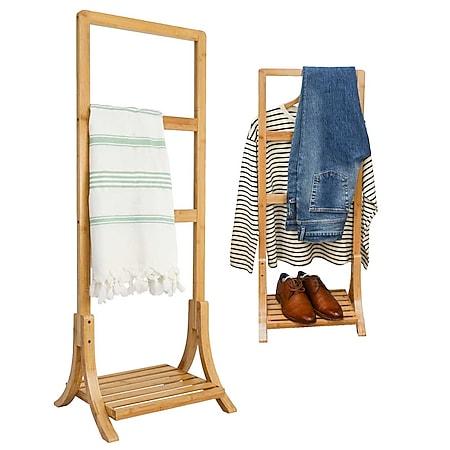 Nachhaltiger Bambus Handtuchständer 40x30x102 Kleiderständer Bad Handtuchhalter - Bild 1