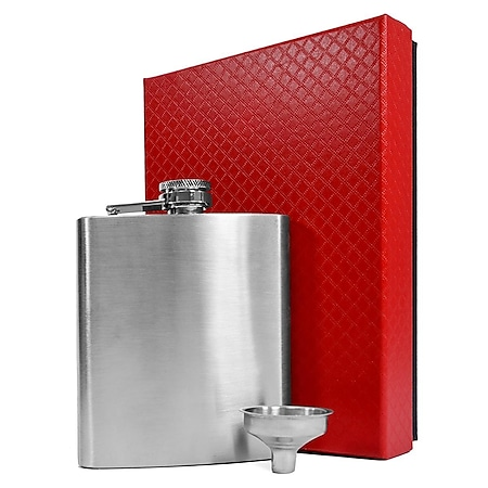 Flachmann-Set Geschenkbox Edelstahl 210 ml mit Trichter rostfrei Einfülltrichter - Bild 1
