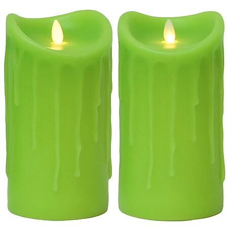 LED Kerze Echtwachskerze mit Timer Ø9,5cm Echtes Wachs 18cm Grün Tropfendesign mit Flammen-Simulatio - Bild 1