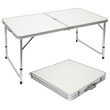 Klappbarer stabiler Campingtisch 120x60x70cm höhenverstellbar tragbar Kofferformat Aluminium Hellgra - Bild 1