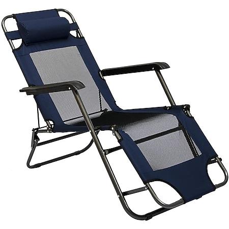Liegestuhl 153x60cm Gartenliege Sonnenliege Campingliege inkl. Nackenstütze Blau - Bild 1