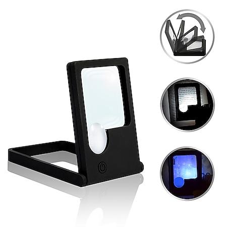 LED-Taschenlupe Leselupe Lupe Klapplupe mit Standfuß | 2 LED Kaltweiß 1 UV-Licht | 2.5x/7x - Bild 1