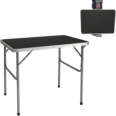 Campingtisch Aluminium Klapptisch 60x80x70cm Stahlrahmen MDF-Tischplatte Dunkelgrau praktisches Koff - Bild 1
