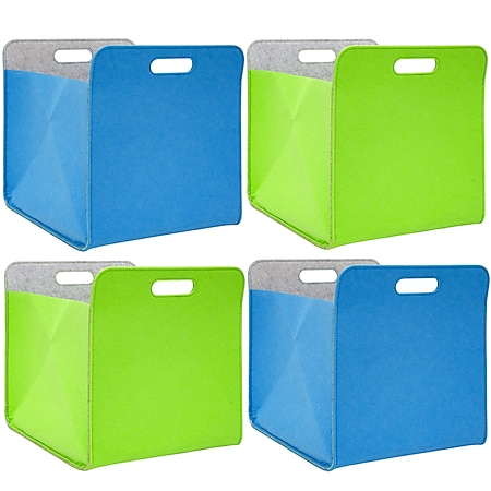 4er Set Filz Aufbewahrungsbox 33x33x38cm Kallax Filzkorb Regal Filzbox Blau Grün - Bild 1