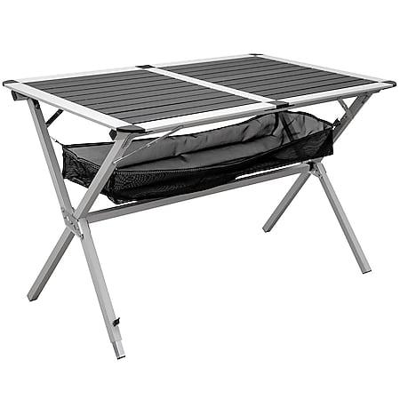 Alu Campingtisch 110x71x71cm Klapptisch Ablagenetz Aluminium Rolltisch Anthrazit - Bild 1