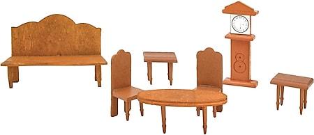 Puppenhaus Möbel Set Wohnzimmer Puppenmöbel Holz Puppen Zubehör Braun Spielzeug - Bild 1