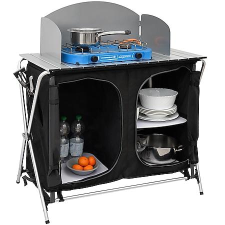 Camping-Küche inkl Windschutz 90x48x115cm 3 Fächer Campingschrank faltbar Kocher - Bild 1