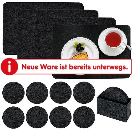 Tischset 4 Extra-Dicke Filz Platzsets 43x30x0,5cm mit 8 Filz-Untersetzer Schwarz - Bild 1