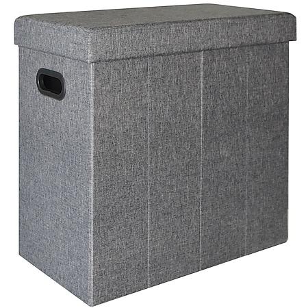 Faltbarer Wäschekorb 70L Wäschetruhe mit Deckel Wäschebox Wäschesammler Leinen-Optik Grau - Bild 1