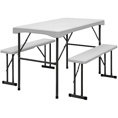 Bierzeltgarnitur für 4 Personen - 112 x 61 cm Bierbank Set - Tisch mit 2 Bänken - Bild 1