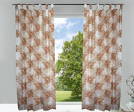 2x Fertigdeko Vorhang 135x245cm Schlaufen Schal Gardinen blickdicht braun kupfer - Bild 1