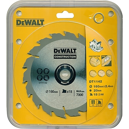 DeWalt Handkreissägeblatt DT1142 Holz Kreissäge Blatt Ø 160mm Sägeblatt Werkzeug - Bild 1