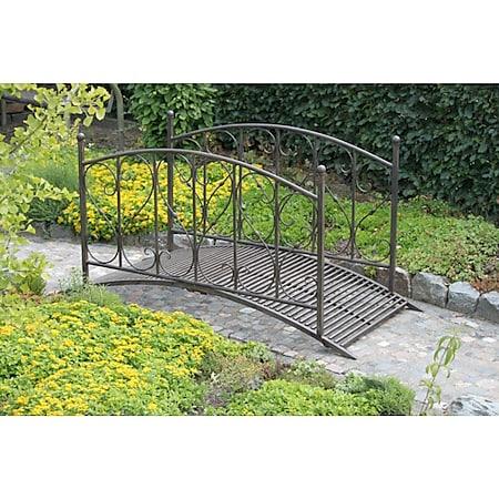 Stahl Gartenbrücke Brücke Teichbrücke Antik Optik Garten Teich Steg Geländer - Bild 1