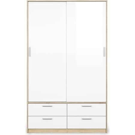 2-türiger Kleiderschrank LISA Schlafzimmerschrank Flügeltürenschrank weiss Eiche - Bild 1