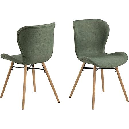 2x Esszimmerstuhl Bali Eiche Polsterstuhl Küchenstuhl Stuhl Set Stühle grün - Bild 1