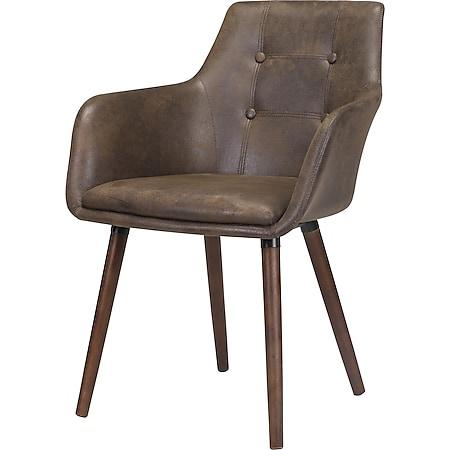 2x Esszimmerstuhl Johs Essstuhl Kühenstuhl Küche Stuhl Set Stühle Kansas braun - Bild 1