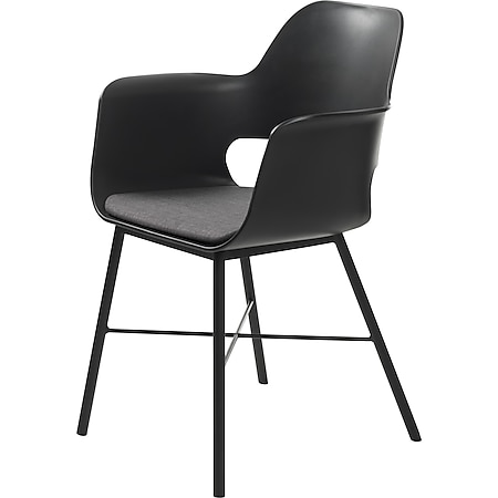 Esszimmerstuhl schwarz grau Essstuhl Lehnstuhl Stuhl Set Stühle Küchenstuhl - Bild 1