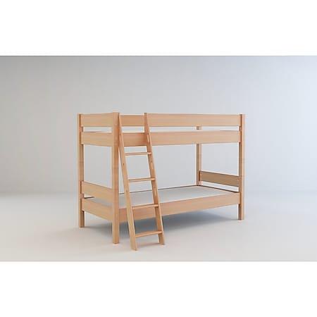 Etagenbett 90x200 + Lattenrost Massivholz Buche Hochbett Kinderzimmer Bett natur - Bild 1