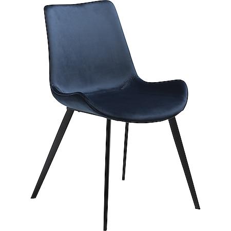 2x Design Esszimmerstuhl Velours Küche Stuhl Stühle Set Esszimmer blau - Bild 1