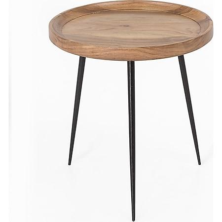 Metall Akazie Holz Beistelltisch Ø 46cm Couchtisch Wohnzimmer Sofa Tisch Möbel - Bild 1
