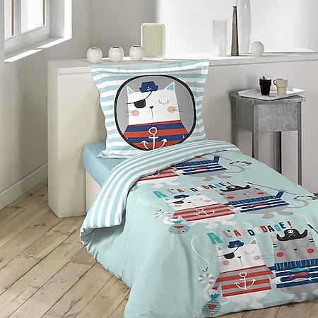 Jungen Wende Bettwäsche Pirat 140x200 Baumwolle Bettdecke Bettgarnitur blau bunt - Bild 1