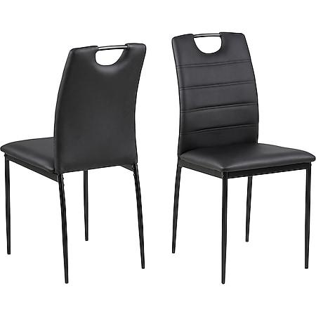 4x Dice Kunstleder Esszimmerstuhl schwarz Stuhl Sessel Esszimmer Wohnzimmer - Bild 1