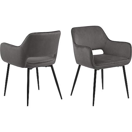 2x Ranan Esszimmerstuhl Armlehne grau Stuhl Set Esszimmer Stühle Küchenstuhl - Bild 1