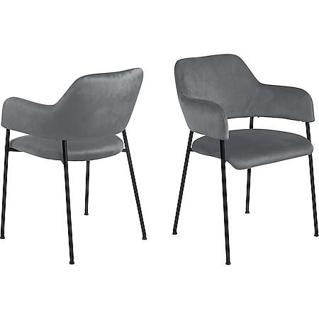 2x Lisa Esszimmerstuhl Armlehne grau Stuhl Set Esszimmer Stühle Küchenstuhl - Bild 1