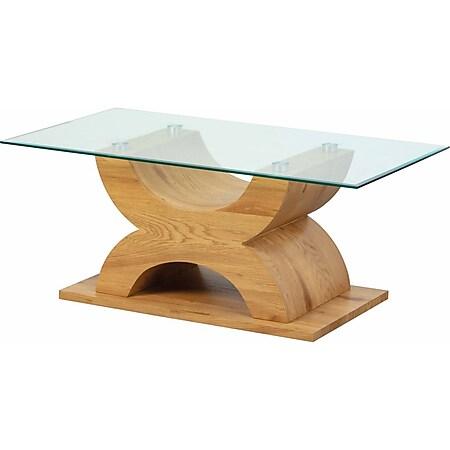 Xira Glas Couchtisch Beine Wildeiche Dekor Wohnzimmer Beistelltisch Tisch - Bild 1
