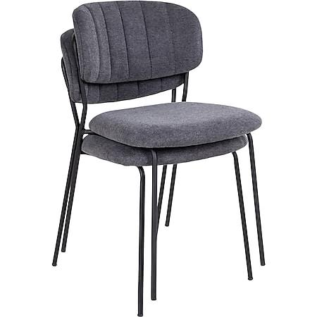 2x Alopa Esszimmerstuhl stapelbar grau Set Stuhl Küchenstuhl Polsterstuhl Stühle - Bild 1
