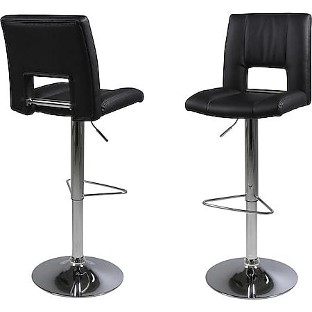 2x Kunstleder Barhocker Syra schwarz Bar Theke Tresen Hocker Küche Stuhl Set - Bild 1