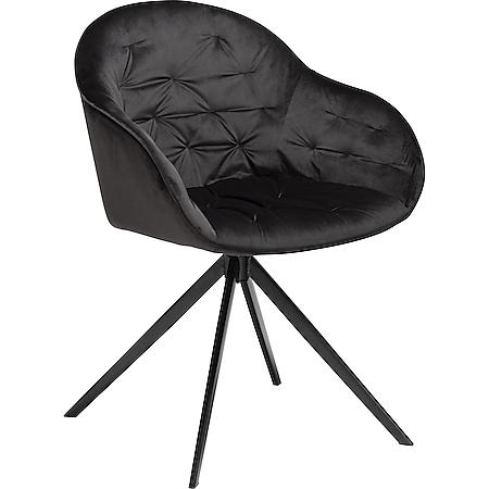 Esszimmerstuhl Danform Cray Velours schwarz Polsterstuhl Küchenstuhl Stuhl - Bild 1
