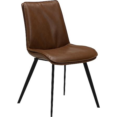 2x Kunstleder Esszimmerstuhl Danform Küchenstuhl Stuhl Set Polsterstuhl braun - Bild 1