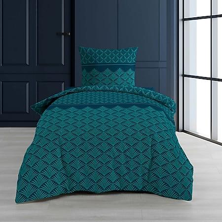 2tlg. Wende Bettwäsche 140x200 petrol Baumwolle Bett Decke Bezug Bettgarnitur - Bild 1