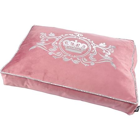 Luxus Samt Hundebett Krone 80x60 rosa Hundebett Schlafplatz Hunde Katzen Bett - Bild 1