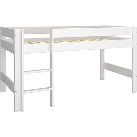 Nice Bett halbhoch 90x200cm + Lamellen weiß Hochbett Kinderbett Kinder Holz - Bild 1