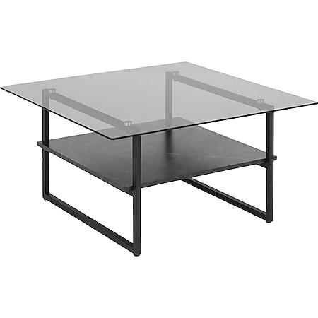 Okaya Couchtisch  1 Ablage Marmor Print Holz Wohnzimmer Beistelltisch Tisch - Bild 1