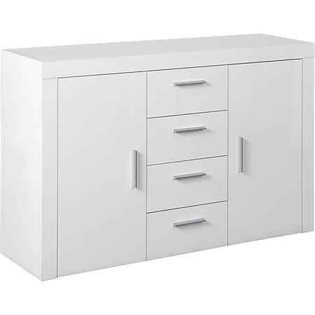Corbet Kommode Türen 4 Schubladen Weiß Hochglanz Sideboard Schrank Schlafzimmer - Bild 1