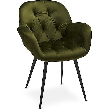 2x Salina Esszimmerstuhl Grün Sitzgruppe Stuhl Esszimmer Wohnzimmer Stühle Set - Bild 1