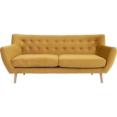 Monte Sofa 3 Pers velour senfgelb Couch Garnitur Wohnzimmer Sitzmöbel Möbel - Bild 1