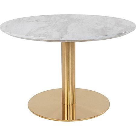 Bologna Couchtisch Ø70cm Marmoroptik Messingbeine weiß Holz Beistelltisch Tisch - Bild 1
